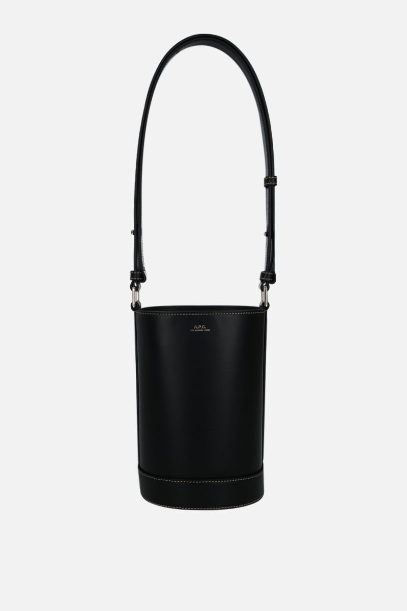 A.P.C.: Ambre small smooth leather bucket bag Color Black_1