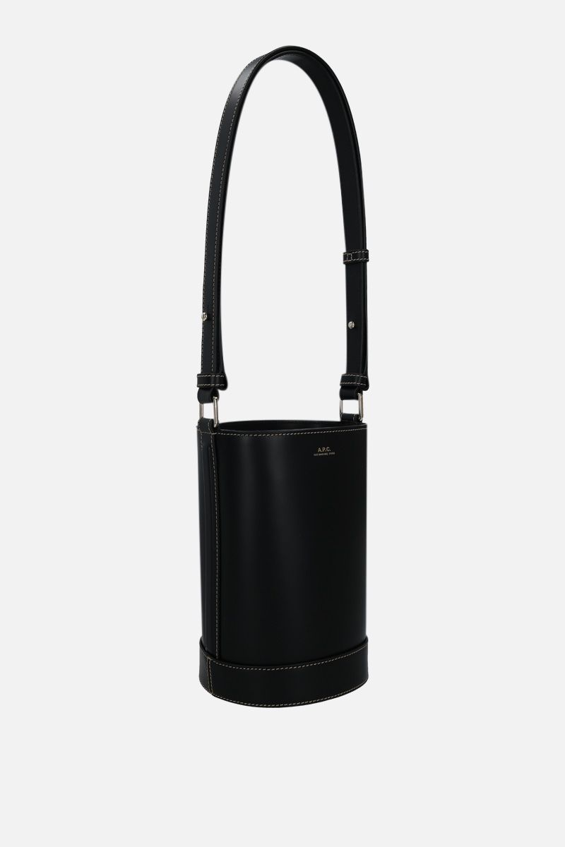 A.P.C.: Ambre small smooth leather bucket bag Color Black_2