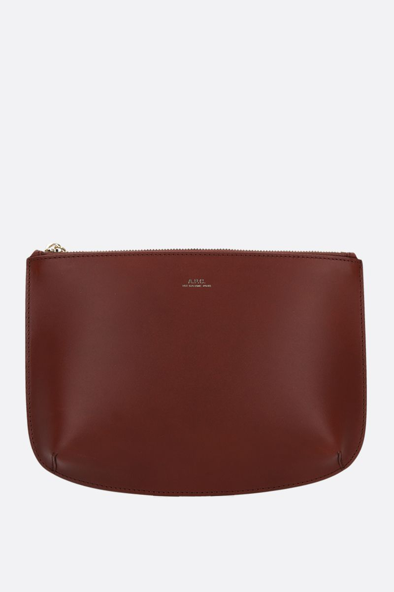 A.P.C.: Sarah smooth leather clutch Color Brown_1