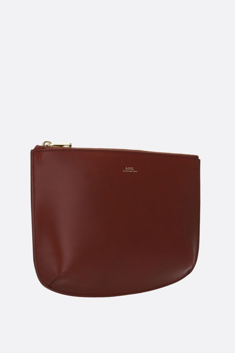 A.P.C.: Sarah smooth leather clutch Color Brown_2
