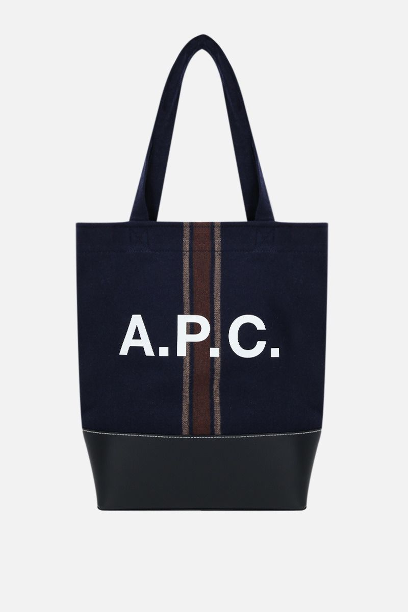 A.P.C.: Axelle wool and smooth leather tote bag Color Blue_1