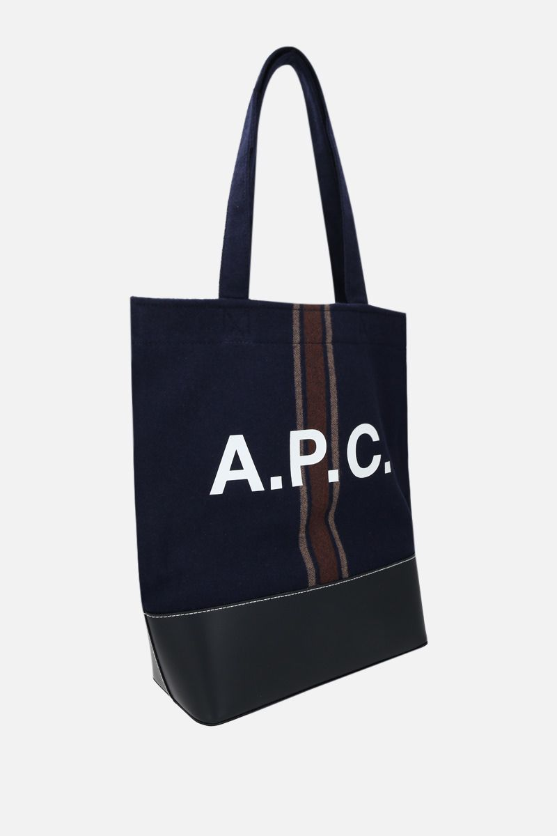 A.P.C.: Axelle wool and smooth leather tote bag Color Blue_2