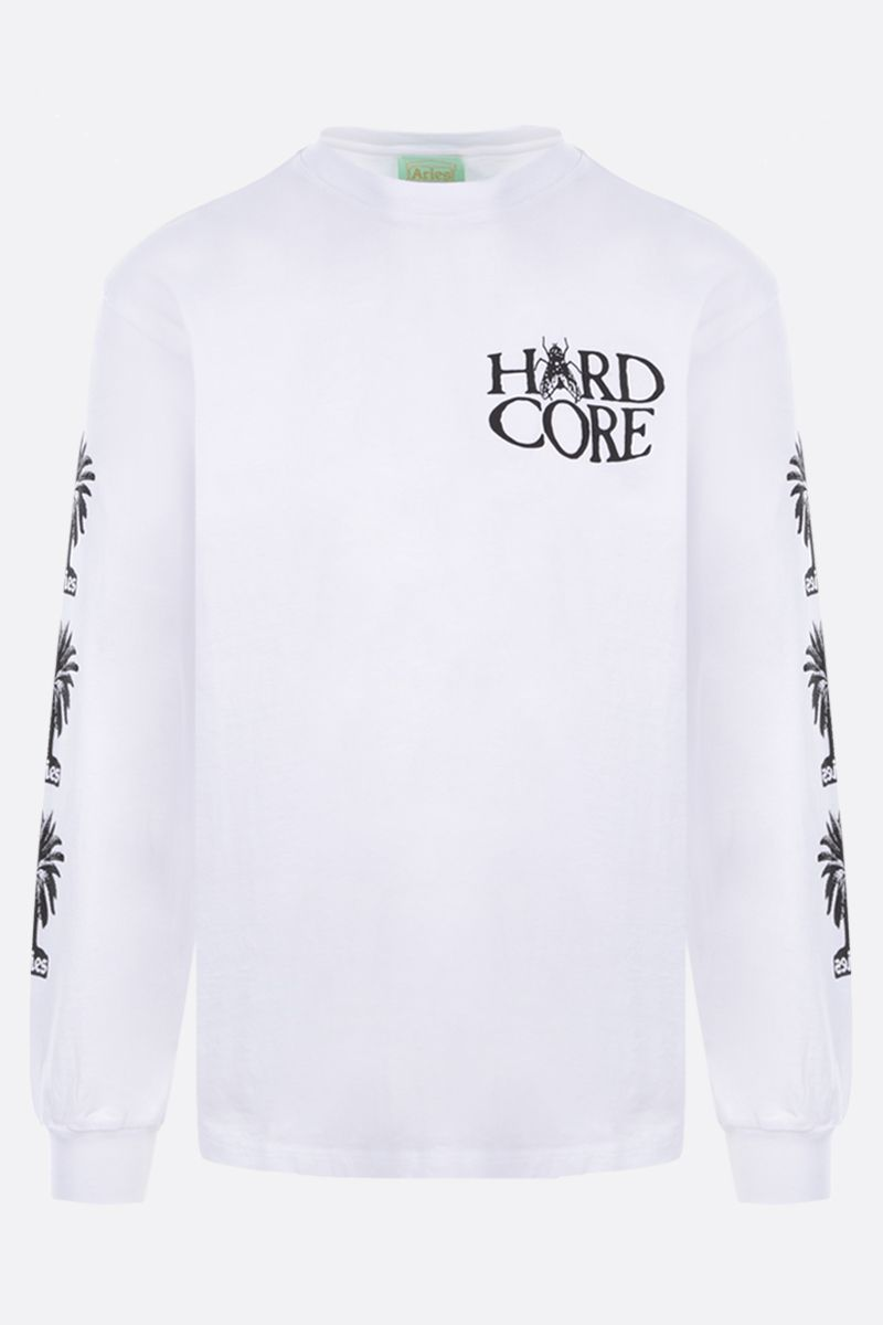 ARIES: Palm long-sleeved cotton t-shirt Color White_1