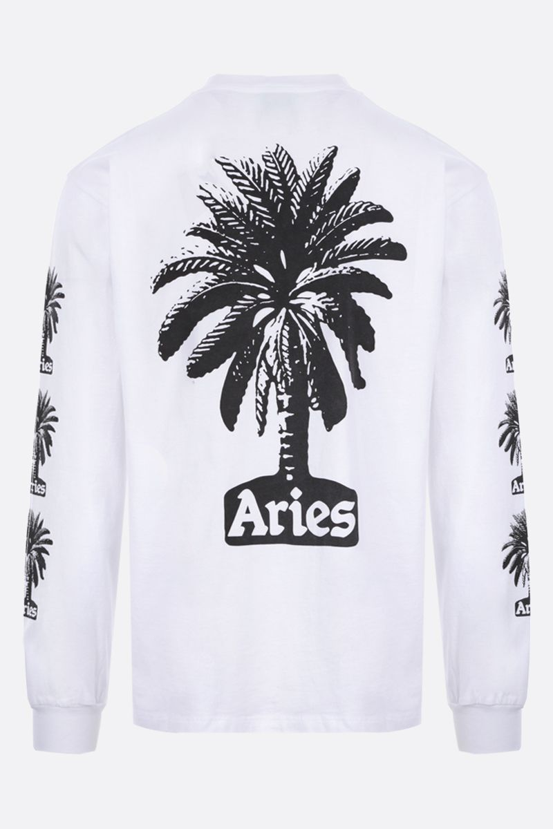 ARIES: Palm long-sleeved cotton t-shirt Color White_2