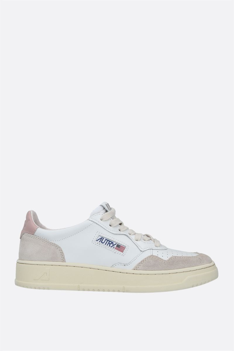 AUTRY: Autry Medalist smooth leather and suede sneakers Color White_1