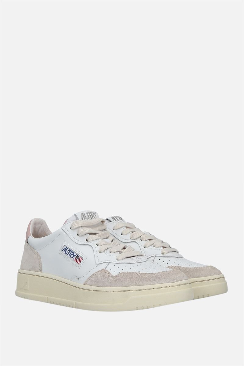 AUTRY: Autry Medalist smooth leather and suede sneakers Color White_2