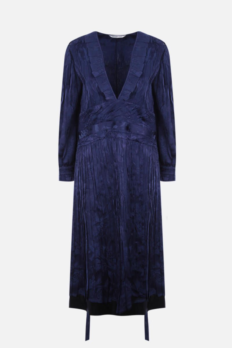 BALENCIAGA: pleated dress in floral jacquard and twill Color Blue_1
