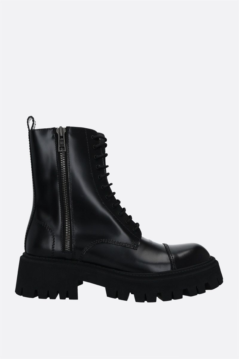 BALENCIAGA: Tractor smooth leather combat boots Color Black_1