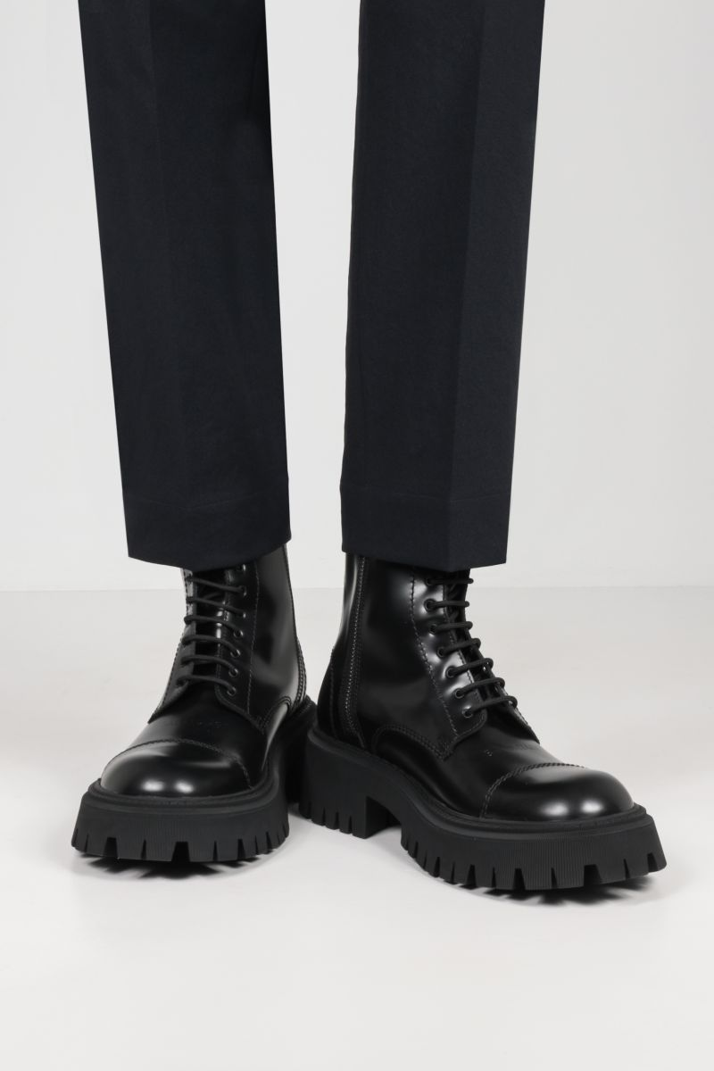BALENCIAGA: Tractor smooth leather combat boots Color Black_2