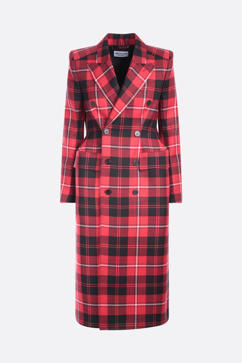 BALENCIAGA: double-breasted check wool coat Color Red_1