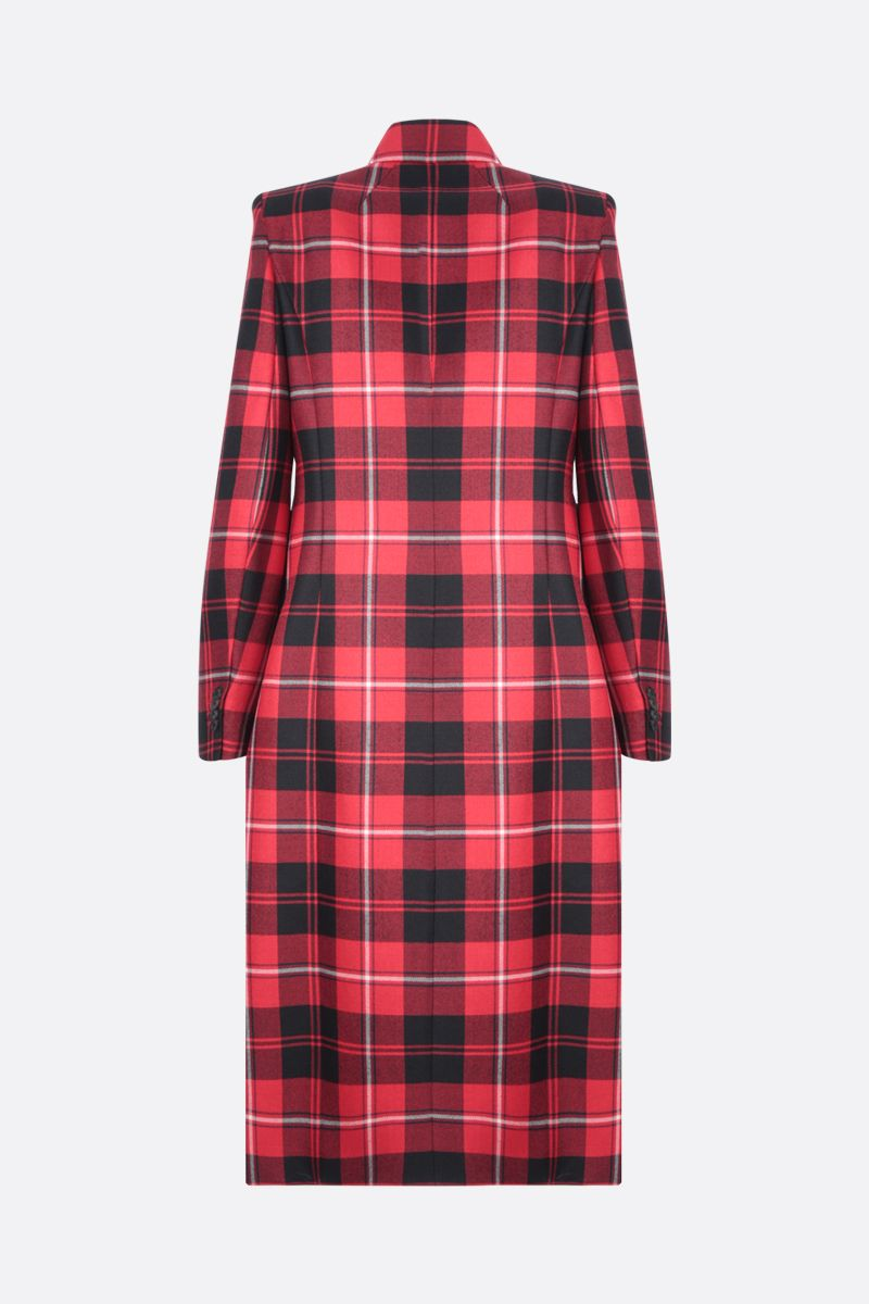 BALENCIAGA: double-breasted check wool coat Color Red_2