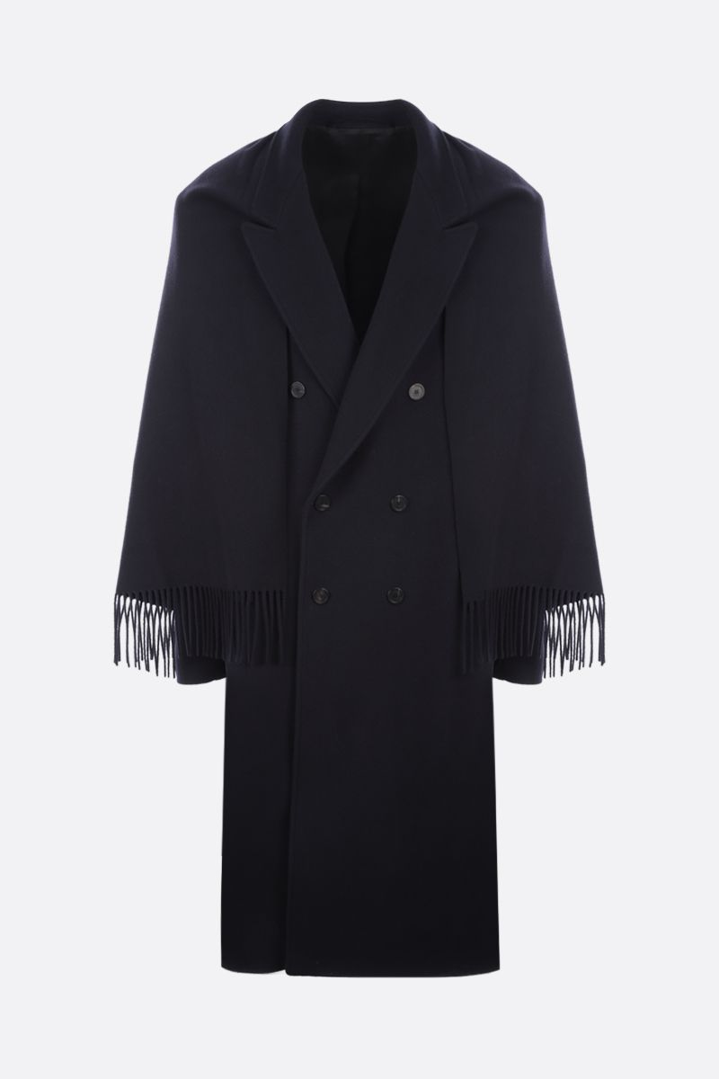 BALENCIAGA: scarf-detailed double-breasted wool blend coat Color Blue_1