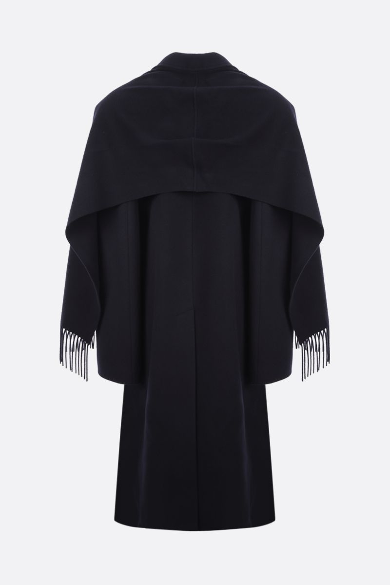 BALENCIAGA: scarf-detailed double-breasted wool blend coat Color Blue_2