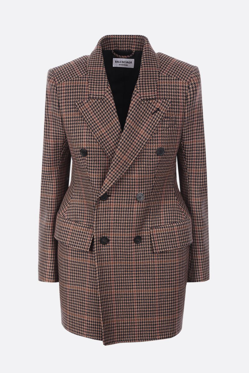 BALENCIAGA: houndstooth wool blend hourglass double-breasted jacket Color Multicolor_1