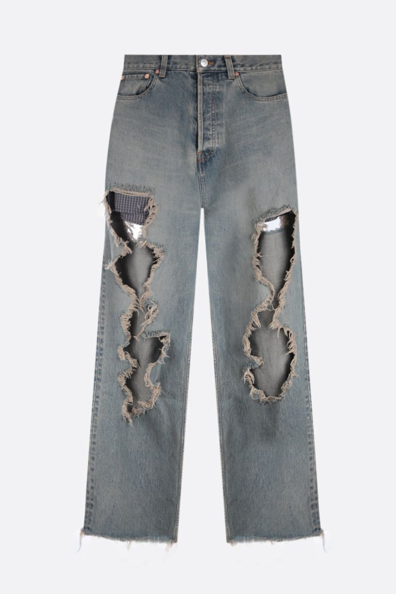 BALENCIAGA: Destroyed Large Baggy jeans Color Brown_1