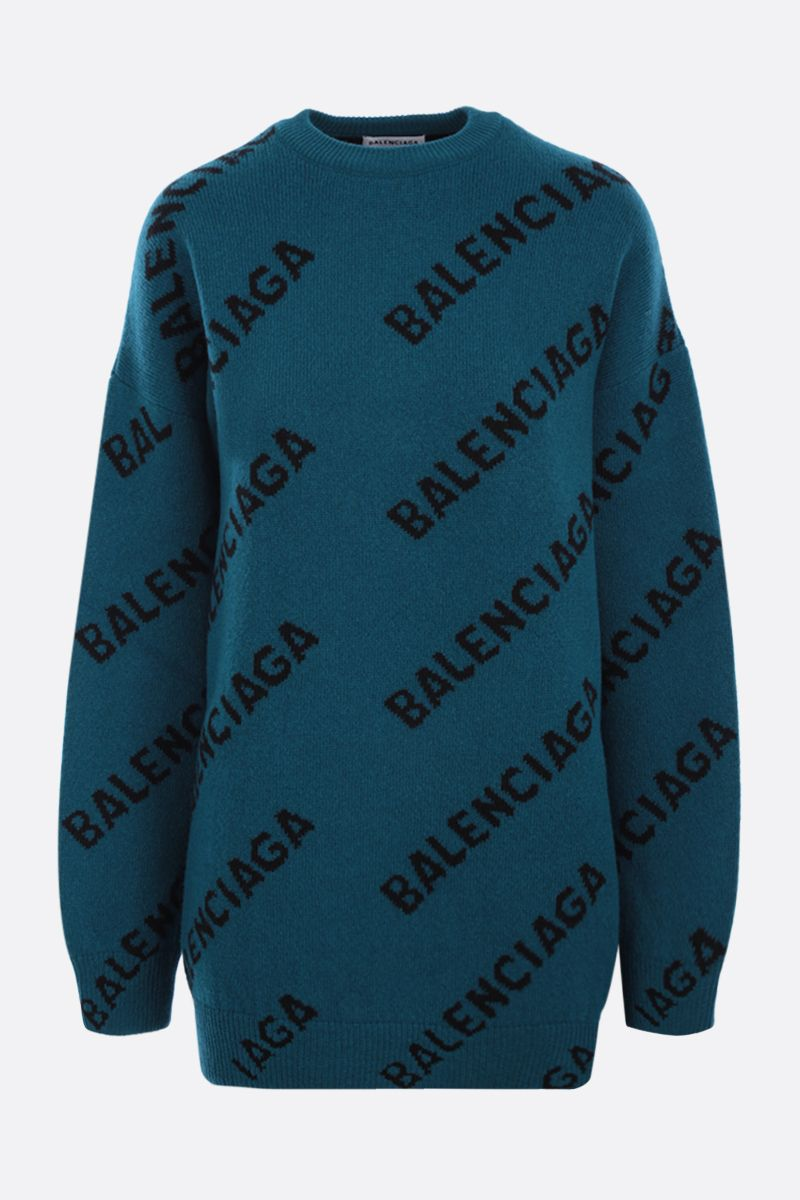 BALENCIAGA: logo-detailed oversize stretch wool pullover Color Blue_1