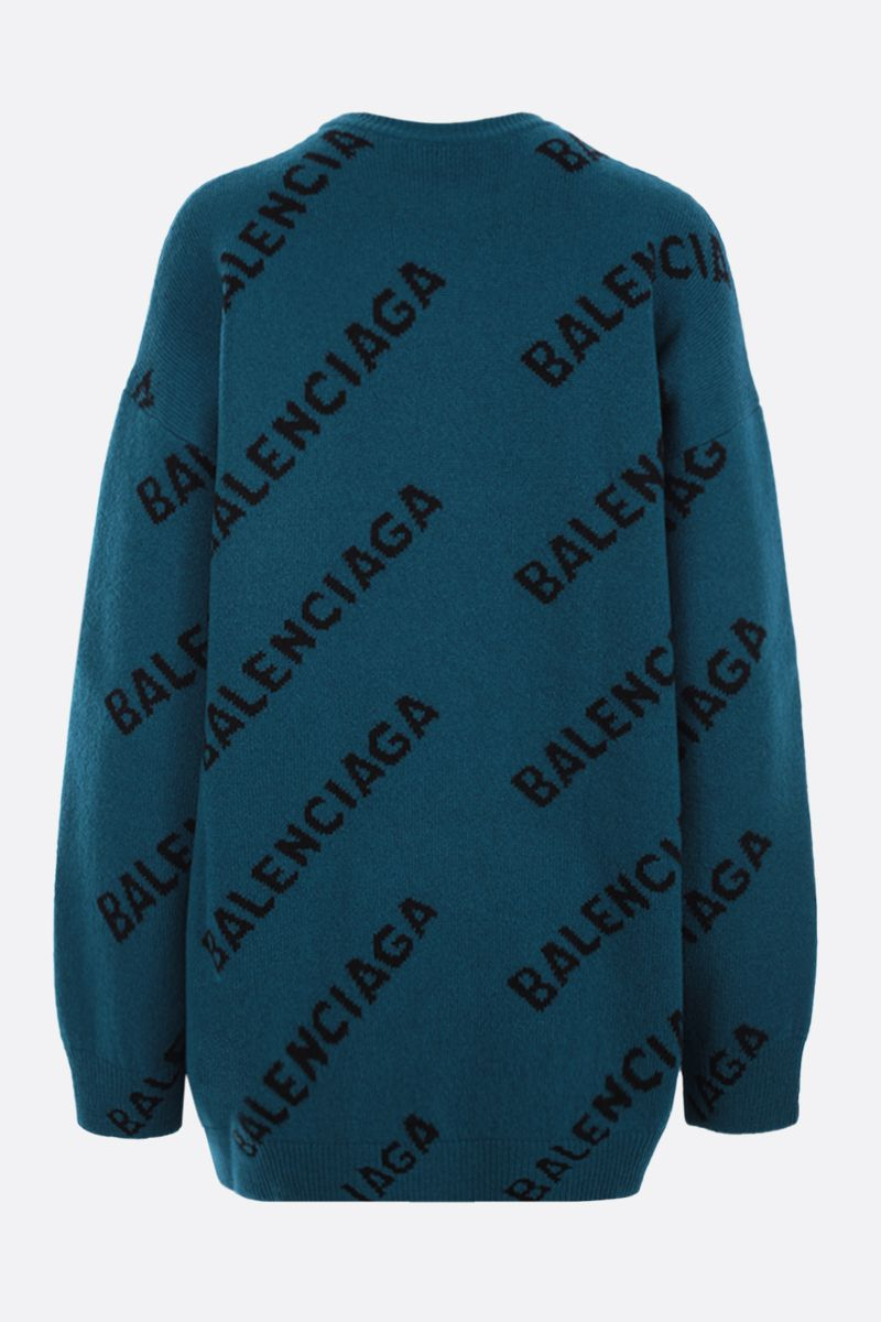 BALENCIAGA: logo-detailed oversize stretch wool pullover Color Blue_2