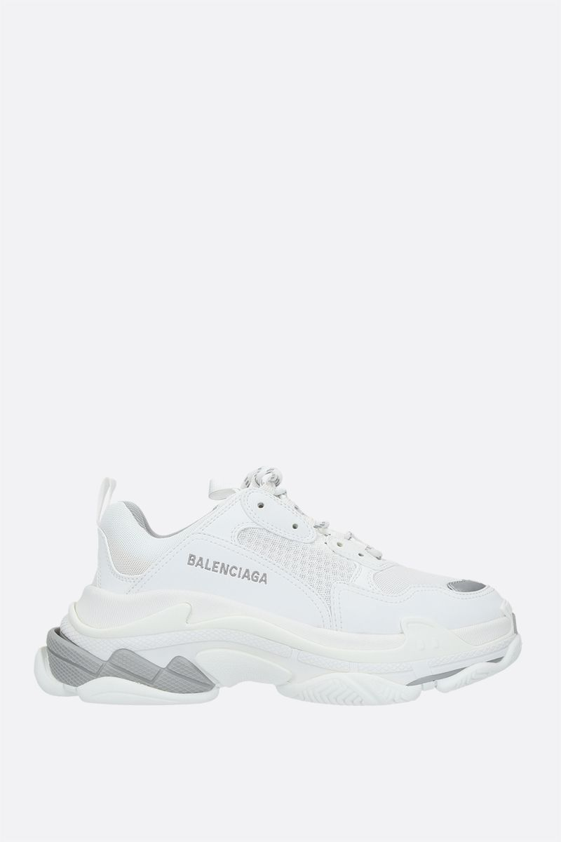 BALENCIAGA: Triple S  faux leather and mesh trainers Color White_1