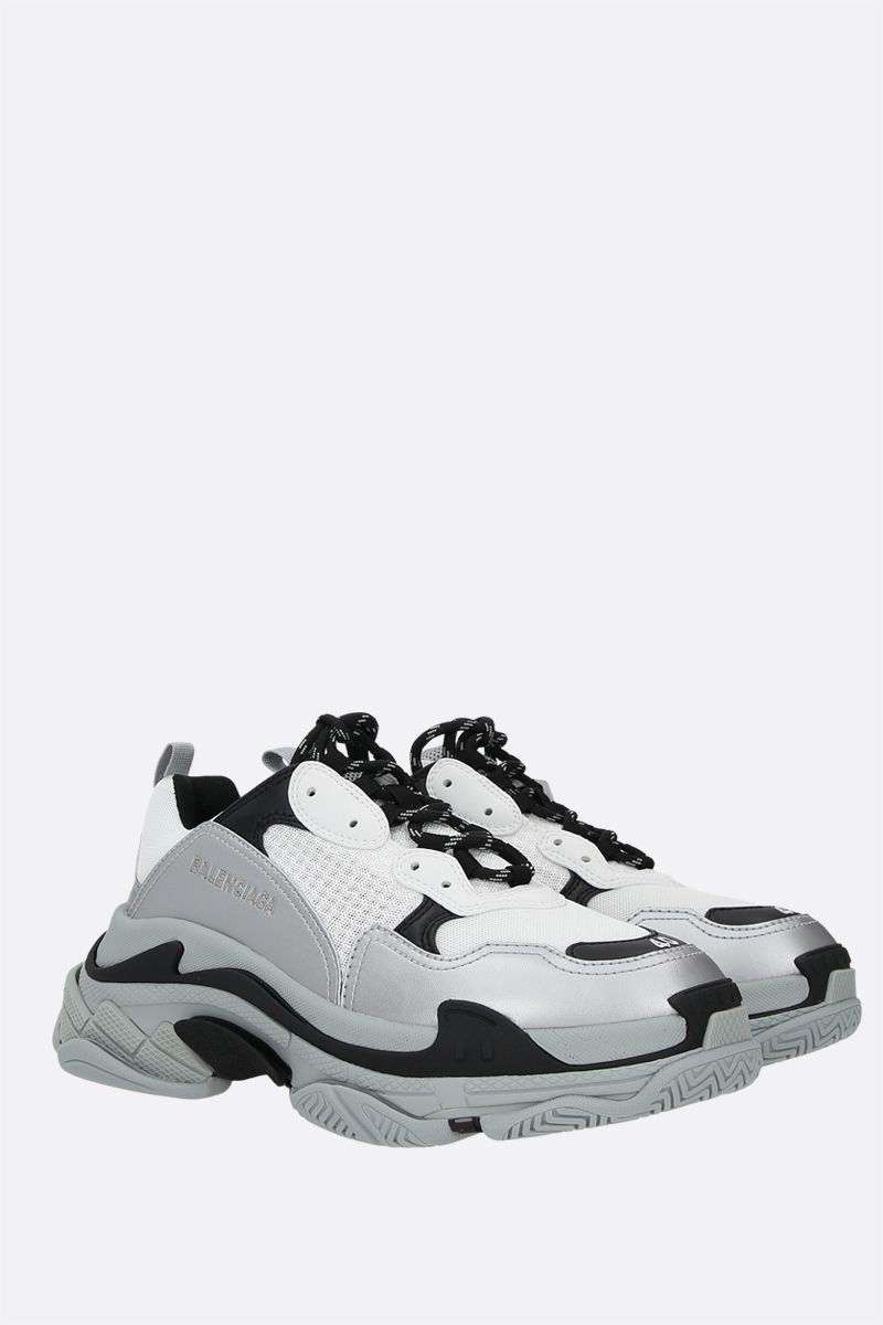 BALENCIAGA: Triple S faux leather and mesh trainers Color Grey_2