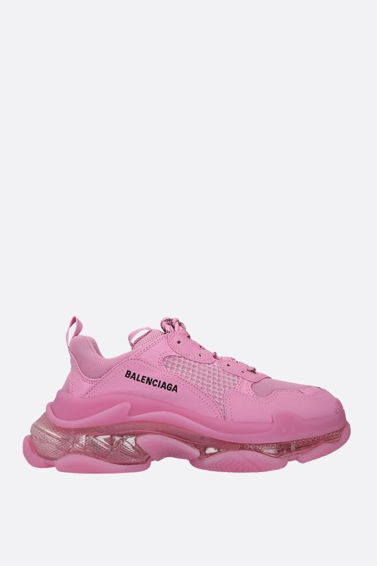BALENCIAGA: Triple S faux leather and mesh sneakers Color Pink_1