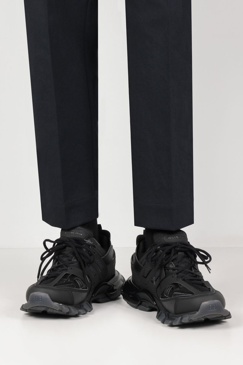 BALENCIAGA: Track faux leather and mesh sneakers Color Black_2