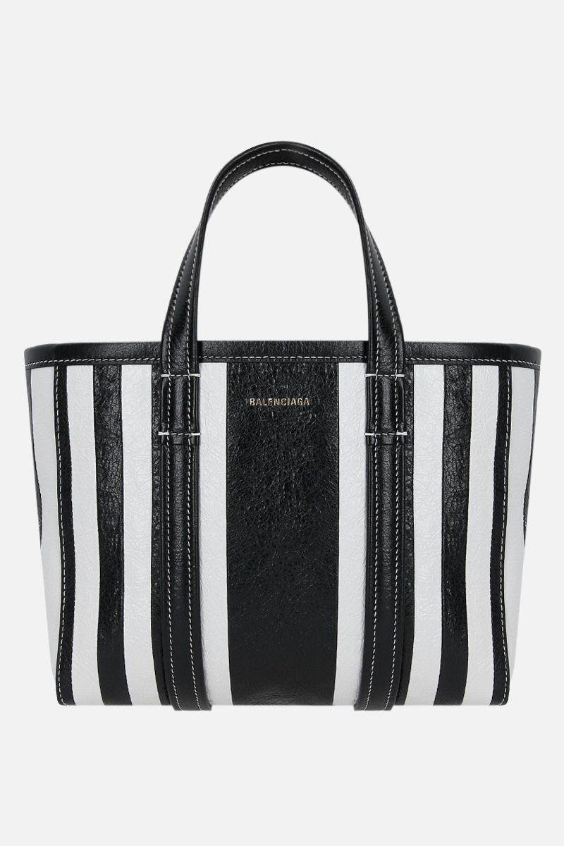 BALENCIAGA: Barbes East / West small shopping bag in Arena leather Color Black_1