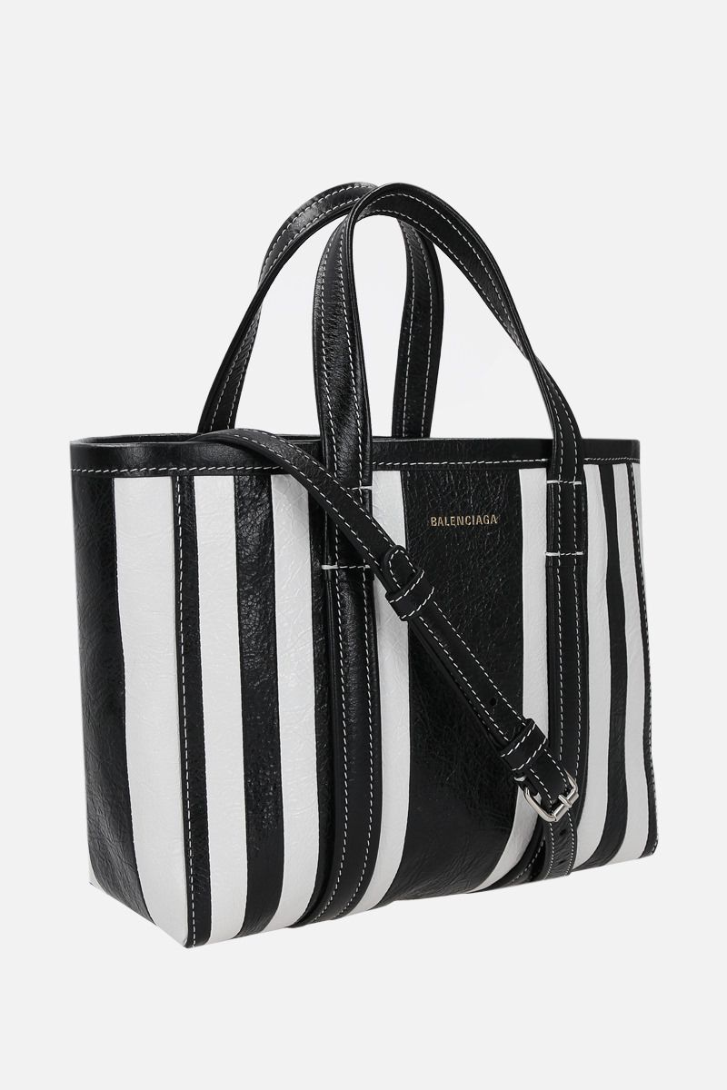 BALENCIAGA: Barbes East / West small shopping bag in Arena leather Color Black_2