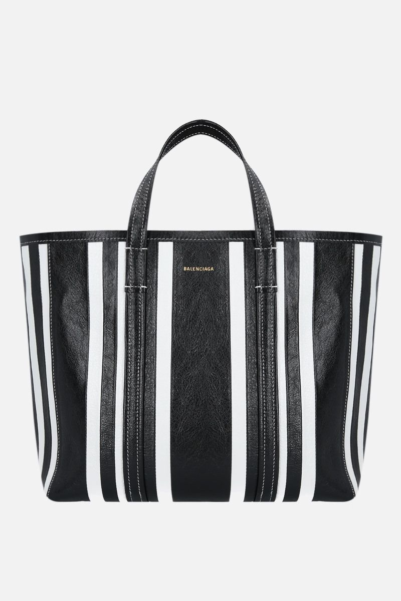 BALENCIAGA: Barbes East / West medium shopping bag in Arena leather Color Black_1