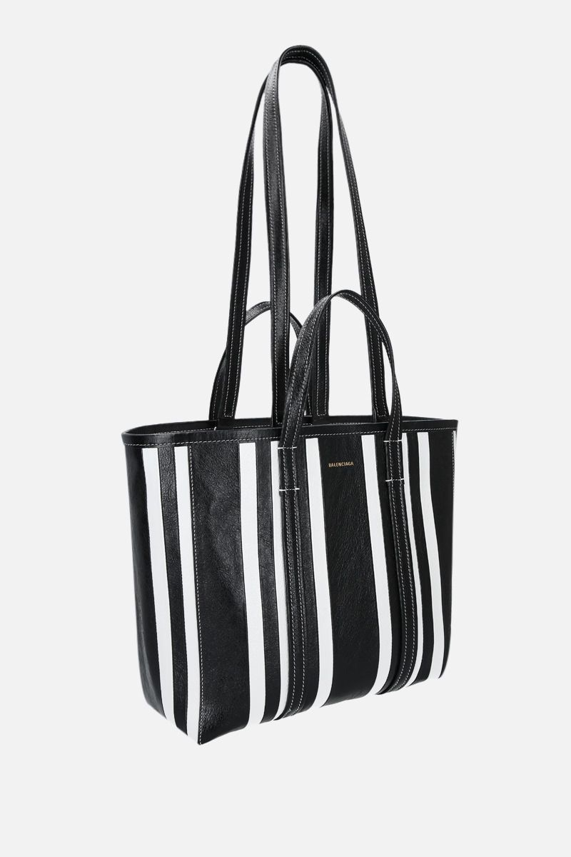 BALENCIAGA: Barbes East / West medium shopping bag in Arena leather Color Black_2