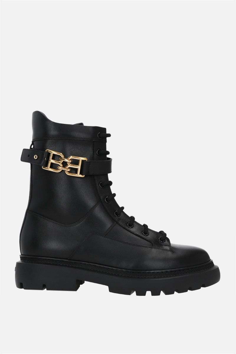 BALLY: Gioele smooth leather combat boots Color Black_1