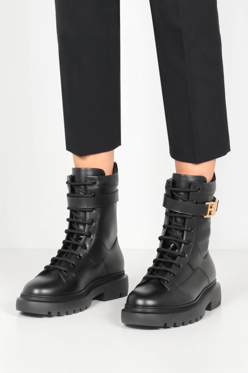 BALLY: Gioele smooth leather combat boots Color Black_2