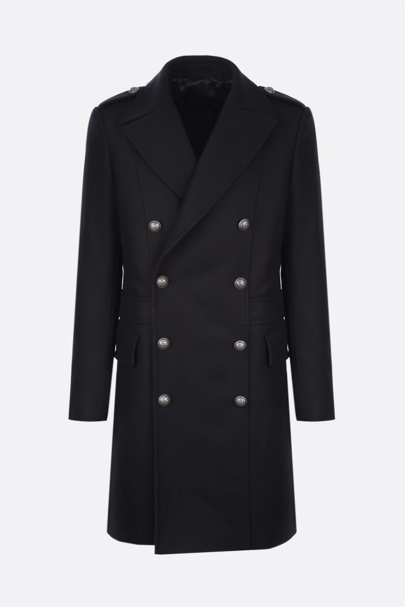 BALMAIN: double-breasted wool blend coat Color Black_1