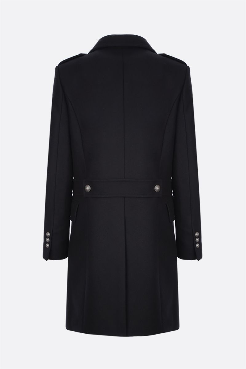 BALMAIN: double-breasted wool blend coat Color Black_2