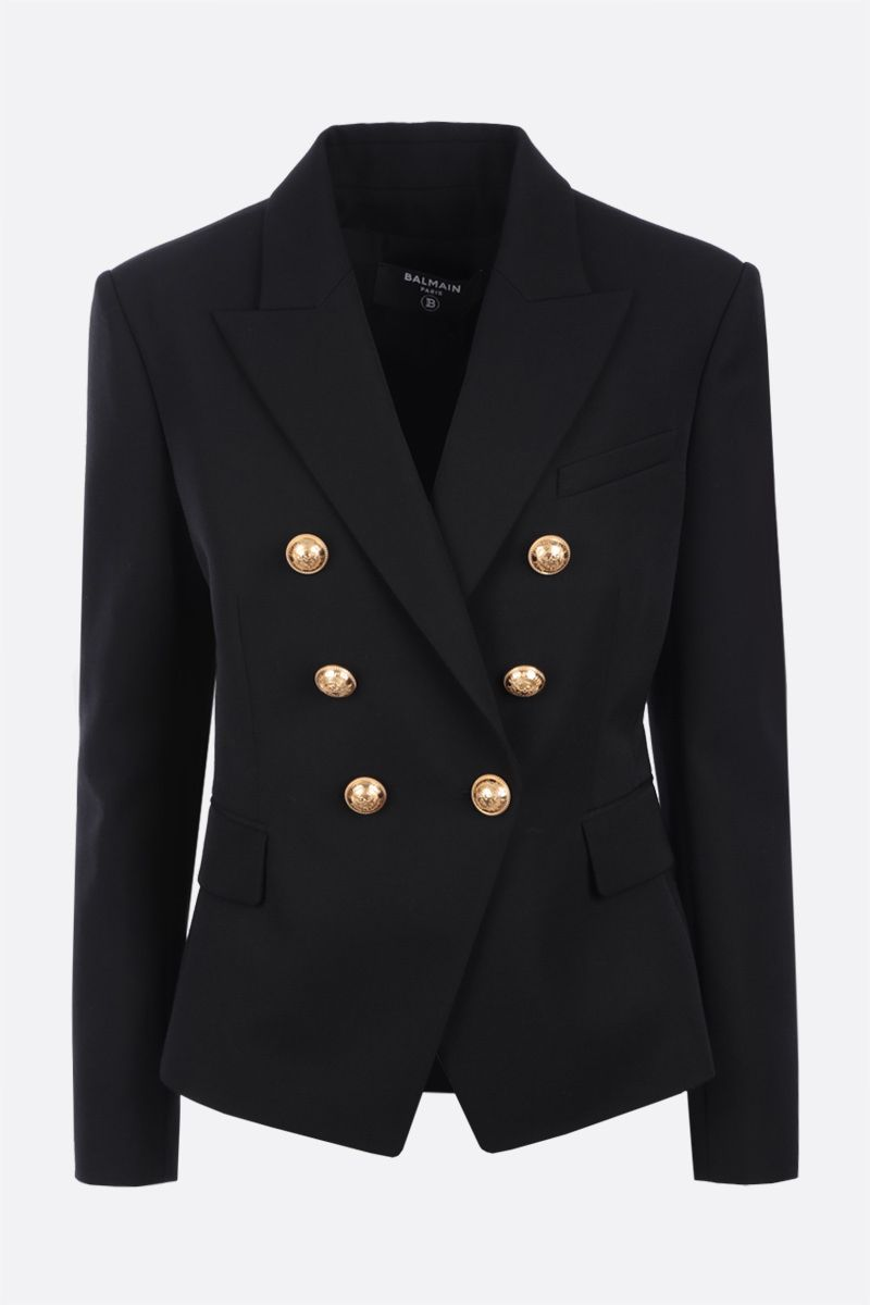 BALMAIN: double-breasted wool jacket Color Black_1