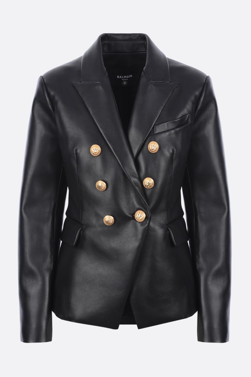 BALMAIN: double-breasted leather jacket Color Black_1