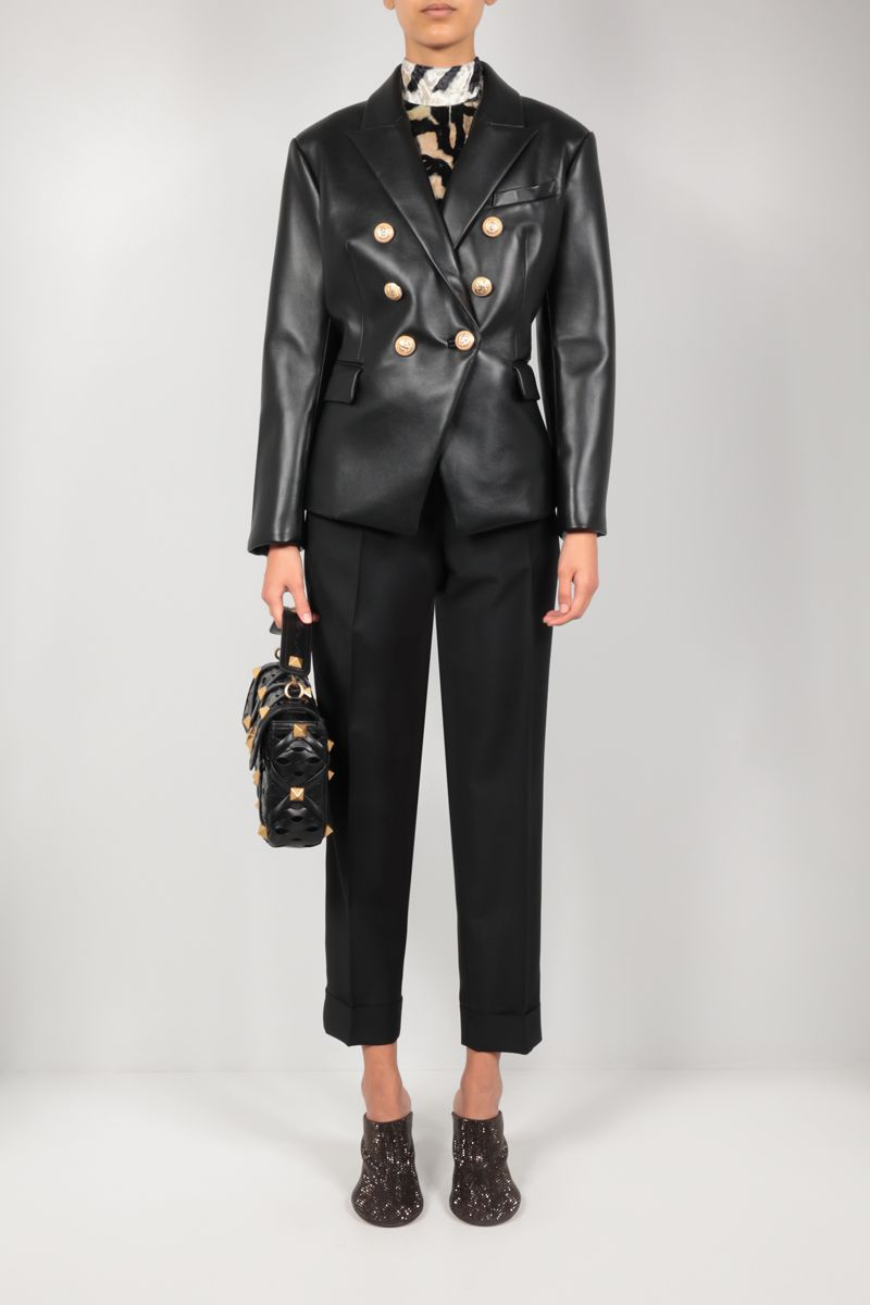 BALMAIN: double-breasted leather jacket Color Black_2