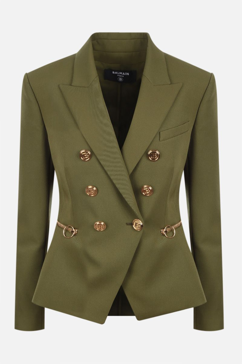 BALMAIN: double-breasted wool jacket Color Green_1