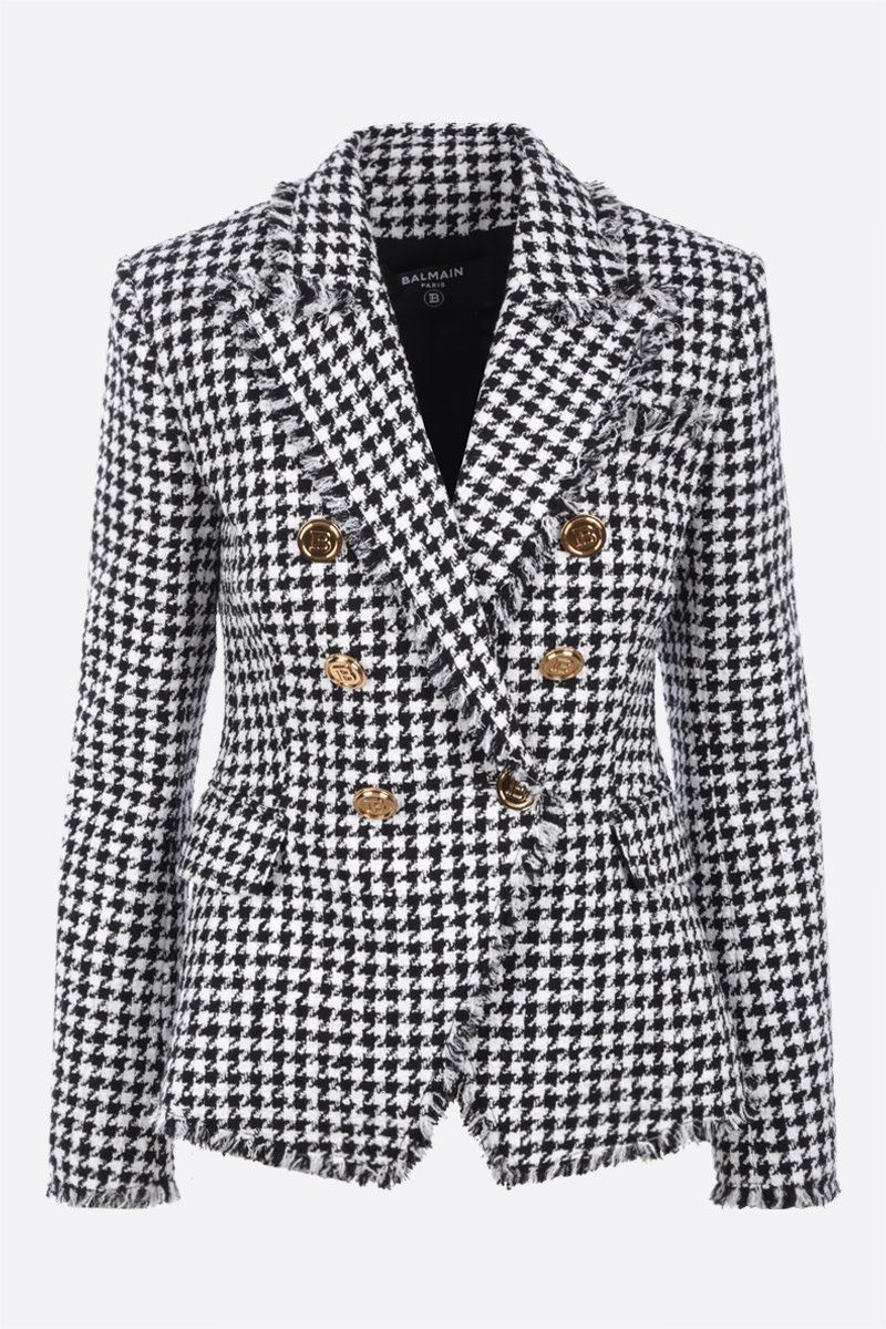 BALMAIN: double-breasted tweed jacket Color White_1
