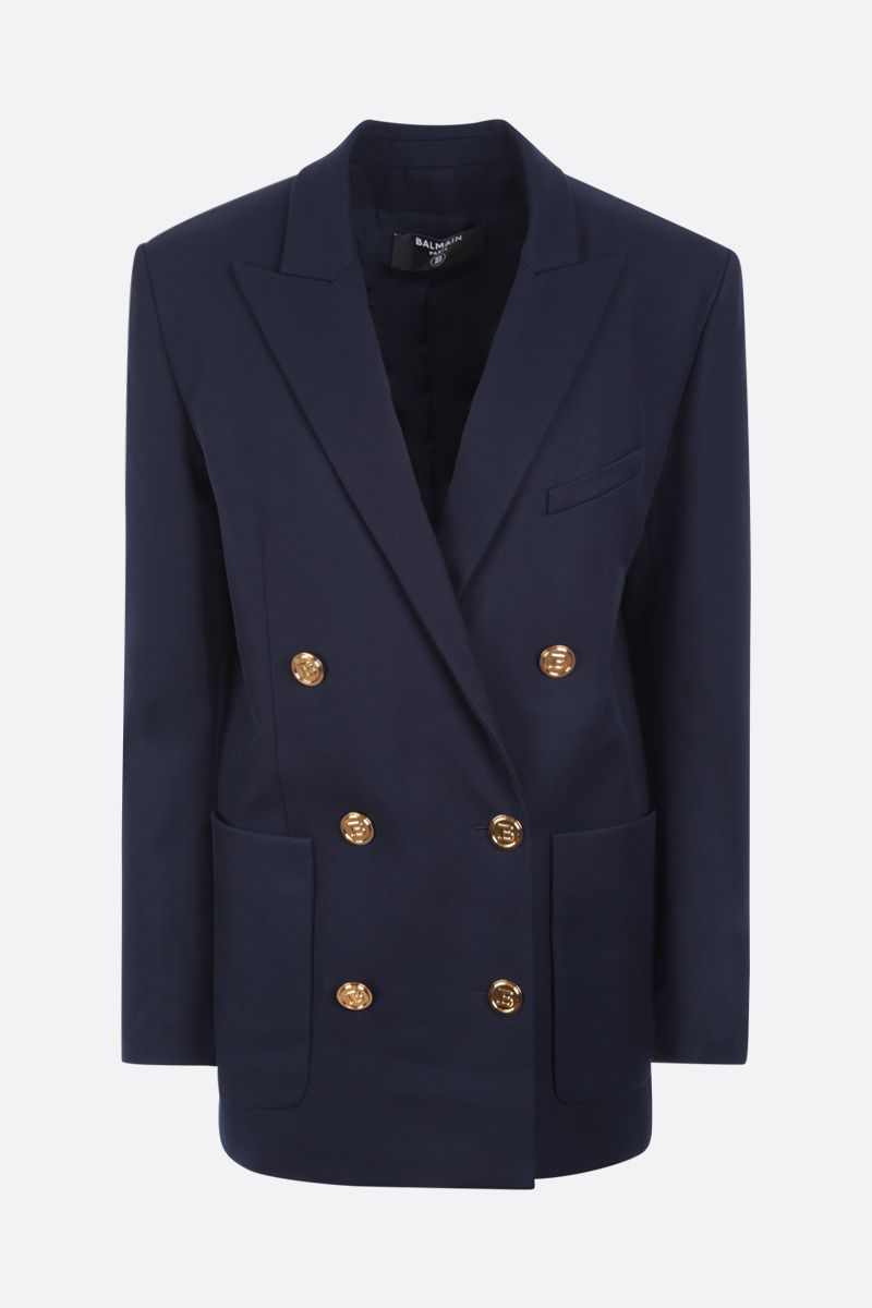 BALMAIN: double-breasted oversize twill jacket Color Blue_1