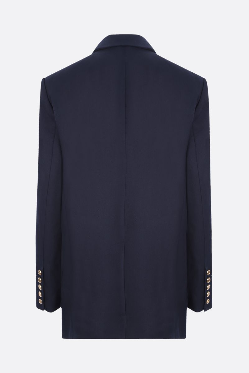 BALMAIN: double-breasted oversize twill jacket Color Blue_2