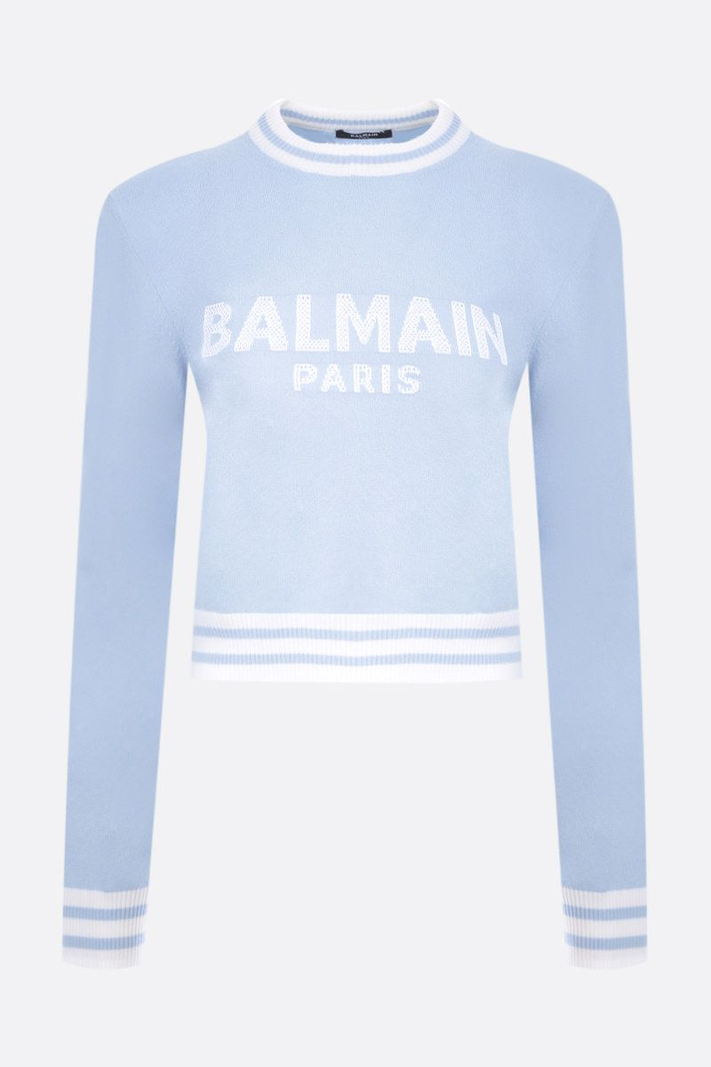 BALMAIN: wool cashmere blend cropped pullover Color Blue_1