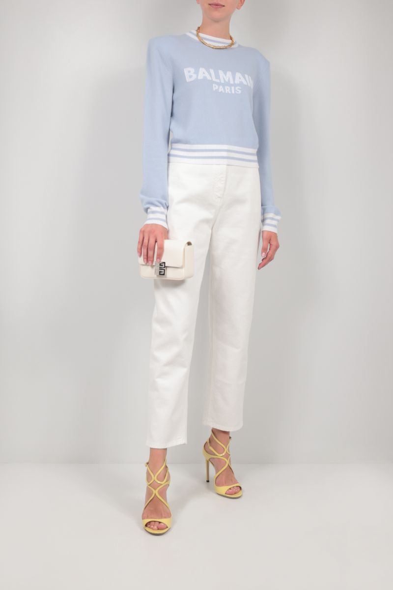 BALMAIN: wool cashmere blend cropped pullover Color Blue_2