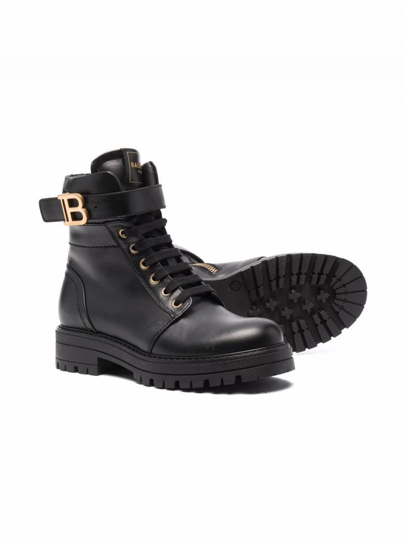 BALMAIN KIDS: logo-detailed smooth leather combat boots Color Black_2