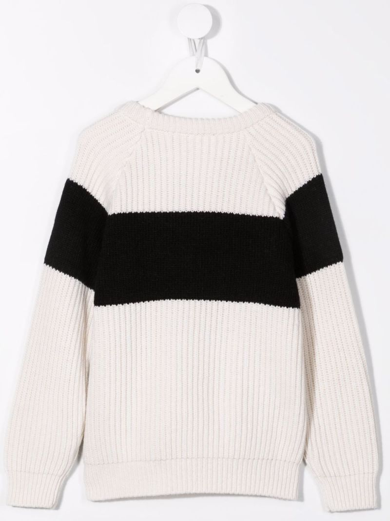 BALMAIN KIDS: logo embroidery cashmere blend pullover Color Neutral_2