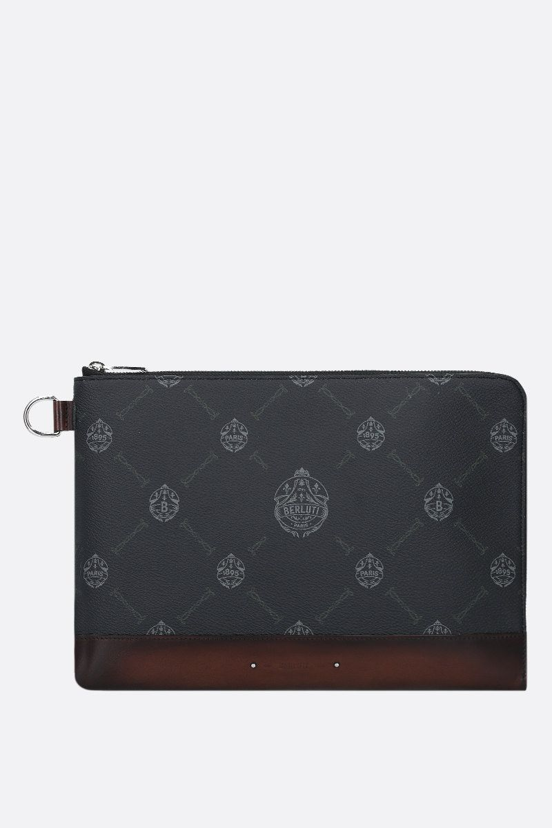 BERLUTI: Nino large canvas and smooth leather pouch Color Black_1