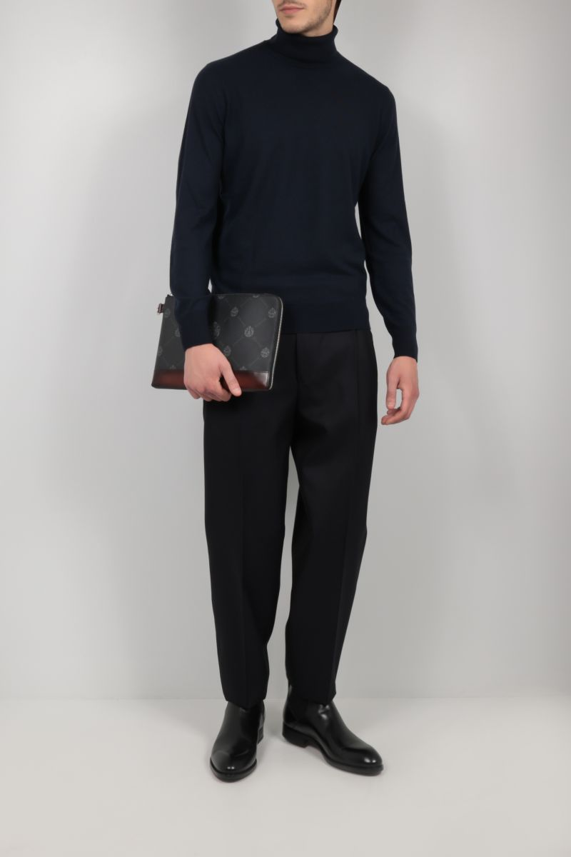 BERLUTI: Nino large canvas and smooth leather pouch Color Black_2