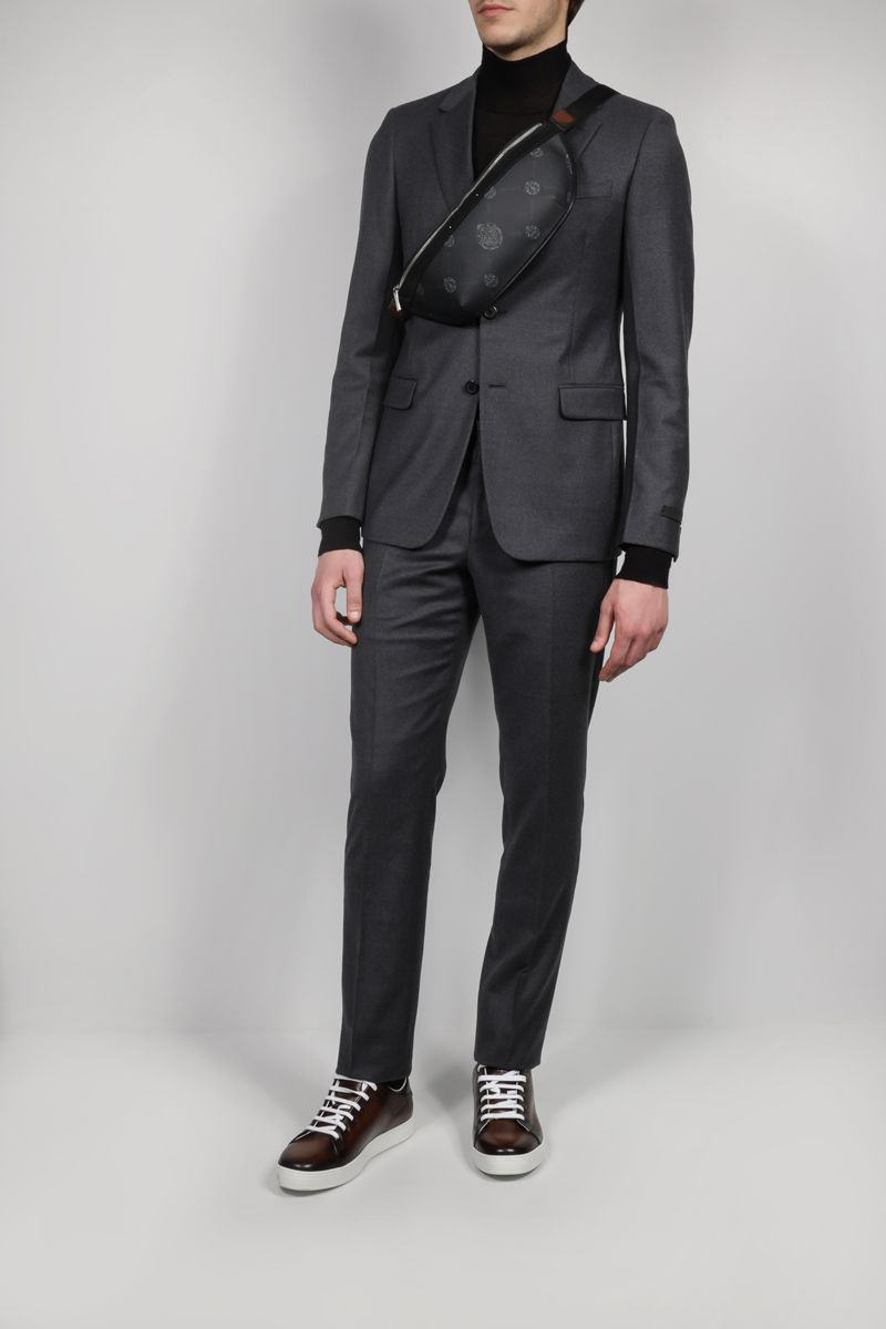 BERLUTI: Rider canvas and smooth leather belt bag Color Black_2