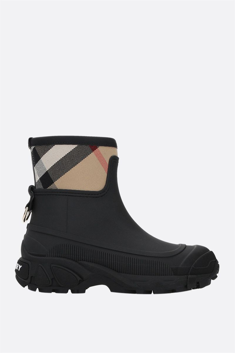 BURBERRY: Ryan rubber and canvas rain boots Color Black_1