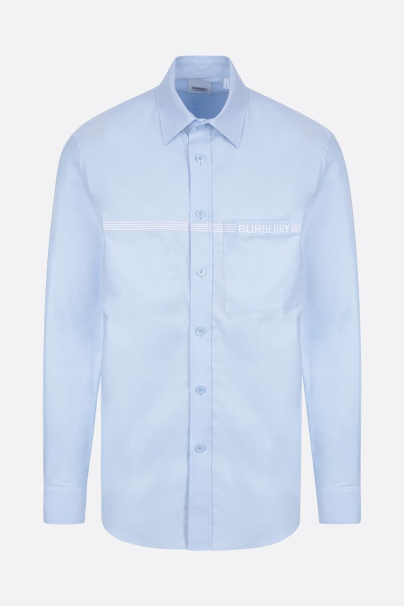 BURBERRY: Clemens logo-embroidered cotton shirt Color Blue_1