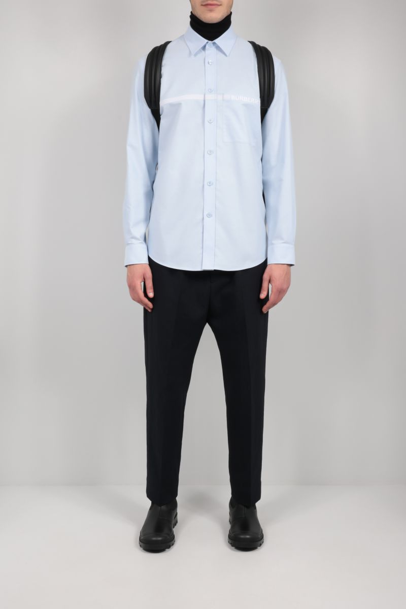 BURBERRY: Clemens logo-embroidered cotton shirt Color Blue_2
